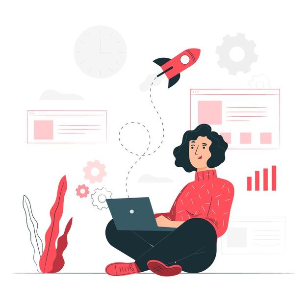 imagen vectorial de una mujer escribiendo con su ordenador