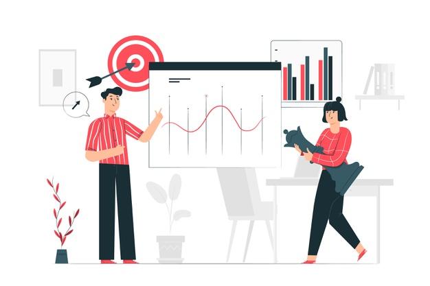 imagen vectorial de un equipo de marketing planeando su estrategia seo