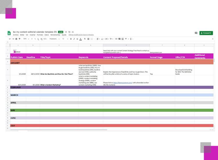 template calendario editorial para blog