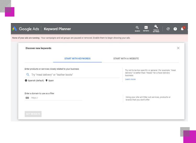 keyword planner by google ads main menu