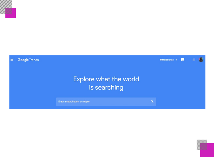 google trends main menu