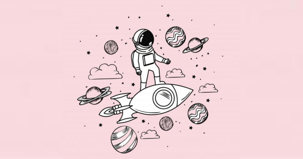 astronaut with rocket and planets