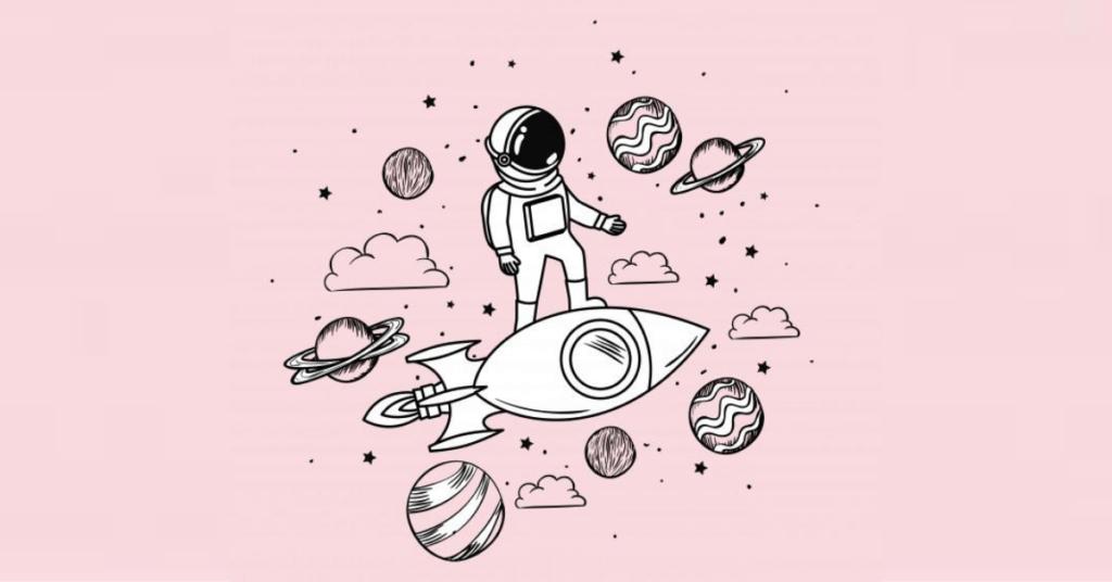 astronauta con cohete y planetas