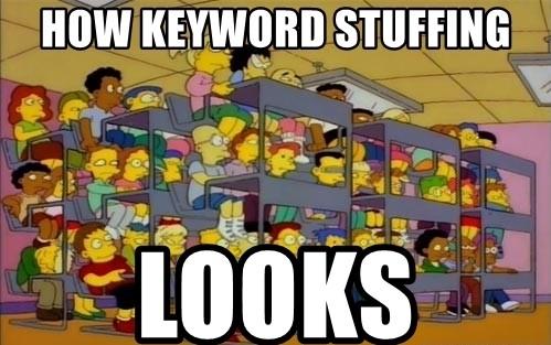 cómo se ve atiborrar un texto de keywords o keywords stuffing según los simpson