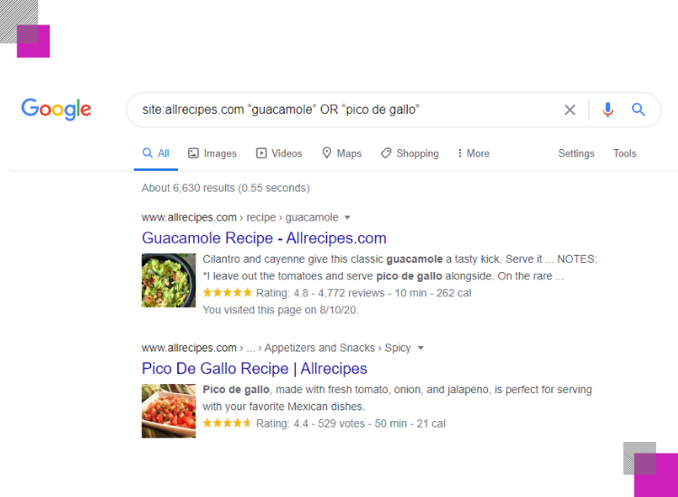 google search with site or command example with words guacamole or pico de gallo and site allrecipes