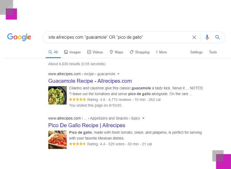 búsqueda con el comando site y or para las keywords guacamole o pico de gallo